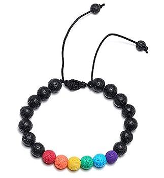 nylry LGBTQ Pride Beaded Bracelet for Lesbian & Gay Bracelets Adjustable Rainbow Bead Lava Stone Enamel Agate Anxiety Bracelets Volcanic Stone Bangle LGBT Jewelry Colorful