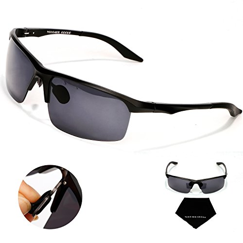 Yougarr Group polarized men's sunglasses for men with Half Metal Frame (Black Lens & Black Frame, 4)