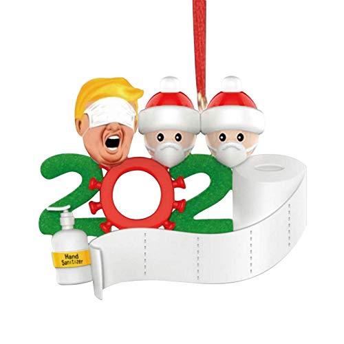 favourall 2020 personalisierter Weihnachtsbaumschmuck mit Maske, Toilettenpapier, Quarantäne Survivor Customized Weihnachtsdekoration DIY Name Blessings Weihnachtsbaum Hängende Anhänger