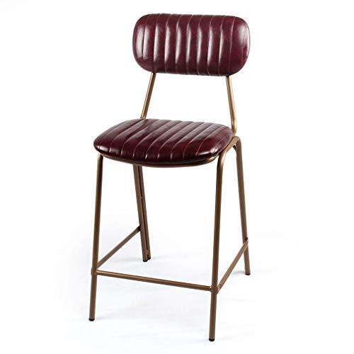 Ontbijtstoel barkruk wijnrood, vintage niet decoratieve achterkant PU-kunstleer uiterlijk, zithoogte 45/63/75 cm, brons barkruk voor thuis en keuken 63 Cm High