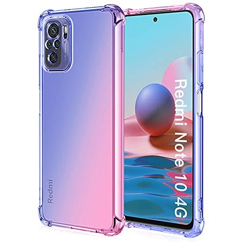 ALAMO Funda de Degradado Vistoso para el Xiaomi Redmi Note 10 4G / Note 10S, Carcasa de Translúcido TPU Silicona con Antigolpes Bumper - Rosado Azul