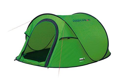 High Peak Wurfzelt Vision 3, Pop Up Zelt für 3 Personen, Festivalzelt freistehend, super leichtes Schnellöffnungs-Wurfzelt, 1500 mm wasserdicht, Ventilationssystem, Moskitoschutz