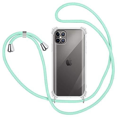 SAMCASE Funda con Cuerda para iPhone 12 Pro MAX 6.7'', Carcasa Transparente TPU Suave Silicona Case con Correa Colgante Ajustable Collar Correa de Cuello Cadena Cordón - Verde Menta