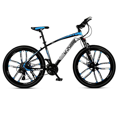 JLFSDB Mountain Bike,26 Inch Unisex Hard-Tail MTB Bicycles,Carbon Steel Frame,Front Suspension Dual Disc Brake,21/24/27 Speeds (Color : Blue, Size : 21 Speed)