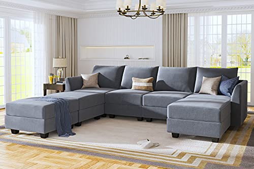 HONBAY Modular Sectional Sofa U Shaped Couch Reversible Sofa Couch with Storage Seat, Bluish Grey