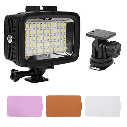 214 Underwater LED Fill Light,40m/131.2ft 5500‑6000K High Power Dimmable Waterproof Video Fill Light with 3 Colors Soft Light Boards,for DSLR/Tripods/Action Cameras