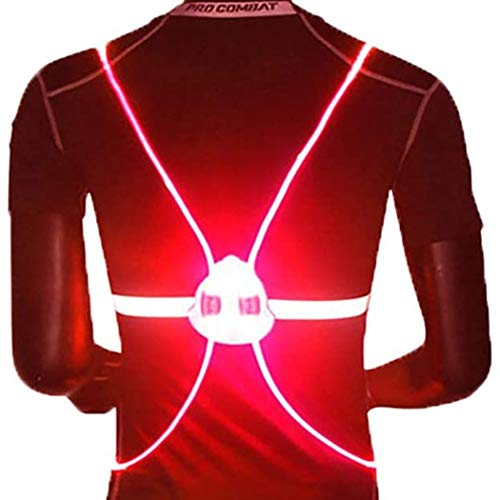 Dresbe Unisex LED Reflective Vest Lightweight Night Running Warning Vests Adjustable Luminous Safety Band for Adult and Kids (Red)