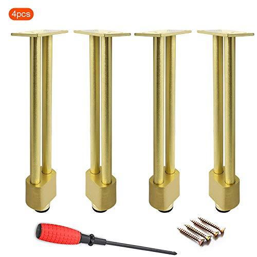 4pcs Patas mueble Tubo de aluminio macizo Pie de soporte para muebles Patas de mesa de hierro forjado dorado patas de escritorio soporte de metal patas de mesa de café patas de mesa Altura: 25,5 cm