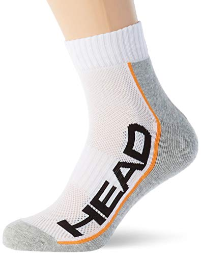 HEAD Unisex-Adult Performance Quarter (2 Pack) Tennis Socks, White/Grey, 43/46