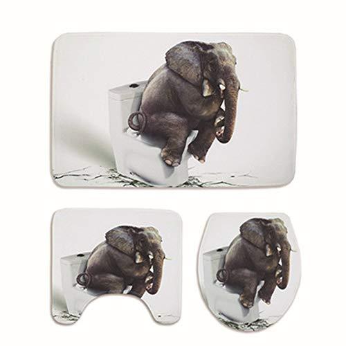 Alumuk Badematten Set 3 teilig, Toilettenmatte Set, 3er Badgarnitur Badezimmer Matte Set Dusch Bade Matte Vorleger Teppich 3D Muster für Wohnzimmer, Schlafzimmer, Schwimmbad Toilet (3D Elefant)
