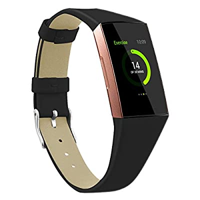 MEFEO Bands Compatible for Fitbit Charge 3 / Charge 4, Full Slim Genuine Leather Band Wristband Replacement for Fitbit Charge 4/ Charge 3/ Charge 3 SE Women Men (Large, Black)