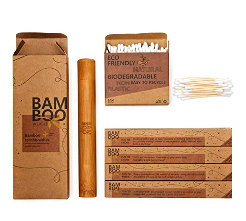 Bamboo Toothbrushes - 4 Pack with a Bamboo Travel Case & Bamboo Cotton Buds. BPA Free Product, Organic Natural Wood Toothbrushes, Travel Case and Cotton Buds, Soft/Medium Bristle, ECO Friendly.