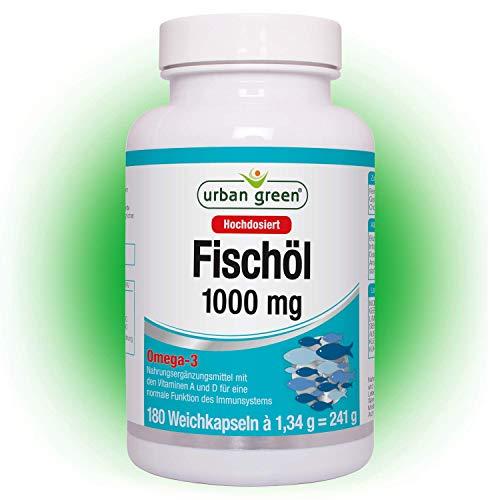 urban green Fischöl 1000 mg 'EINFÜHRUNGSPREIS' - Omega 3 Weichkapseln hochdosiert - mit Omega 3-Fettsäuren EPA und DHA, Vitamin A und Vitamin D - 180 Kapseln