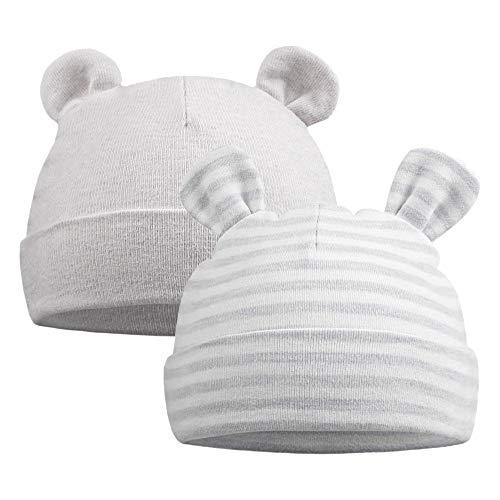 Original Cotton Newborn Beanies Striped Cute Baby Hat for Boys Girls Bear Ears Infant Beanie 2-Pack (Bear(Gray+Gray Striped), 0-6 Months)