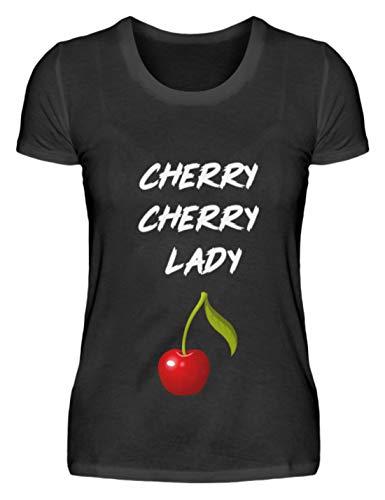 SPIRITSHIRTSHOP Cherry Cherry Lady - Cooles Lied Song Design Für Damen Und Herren Zu Jedem Anlass - Damenshirt -XL-Schwarz