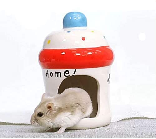 gutongyuan Hamster Hideout Ceramic Adorable Cartoon Shape Hamster House Chinchilla Mini Hut Small Animal Hideout Cave Cage Accessories