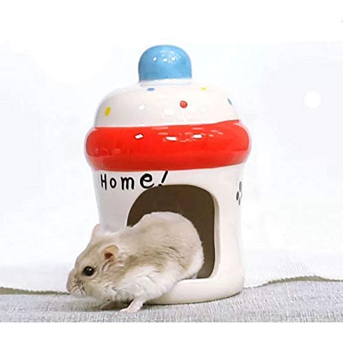 gutongyuan Hamster Hideout Ceramic Adorable Cartoon Shape Hamster House Chinchilla Mini Hut Small Animal Hideout Cave Cage Accessories (Bottle)