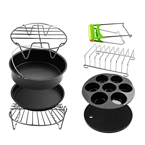 DUDDP Steamer Insert Air Fryer Accessories General Air Fryer Kits 8 Inch for Phillips & Gowise & Cozyna & Tower & Princess, Fit All Standard Airfryer 5.2QT-5.8QT and UP(8 Piece),8pieces