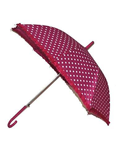 Das Kostümland Regenschirm Fifties mit Punkten und Rüschenabschluss - Retro Look - Pink