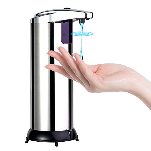 4YANG Dispensador de jabón automático con acero inoxidable Dispensador de jabón líquido desinfectante manos libres sin contacto dispensador de jabón con base impermeable Para oficina de baño y cocina