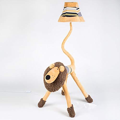 "LITFAD LED Floor Lamp 1 Bulb Plush Animal Standing Light with Strip Shade Cartoon Lion 51"" Tall Standing Modern Light for Children Room Kids Room Kindergarten Fabric Floor Light - Yellow D"