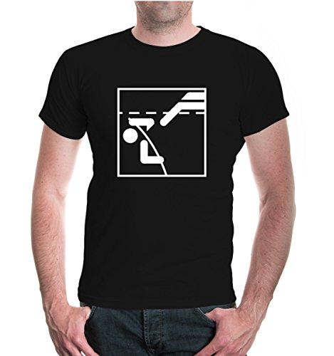 T-Shirt Stabhochsprung-Piktogramm-L-Black-White
