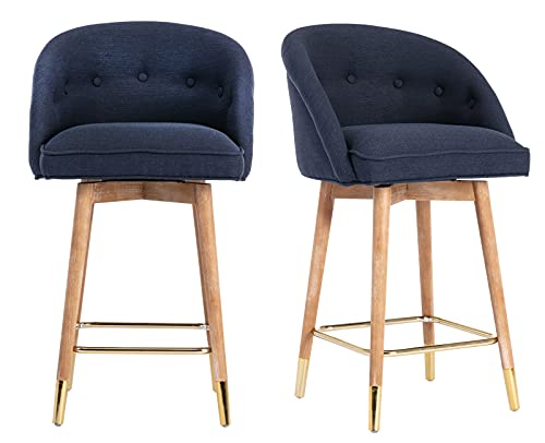 Chairus Upholstered Fabric Bar Stool Set of 2, 26' Counter Height Barstool Swivel Kitchen Stools Island Bar Chair, Dining Chairs with Wooden Legs Metal Footrest, Dark Blue