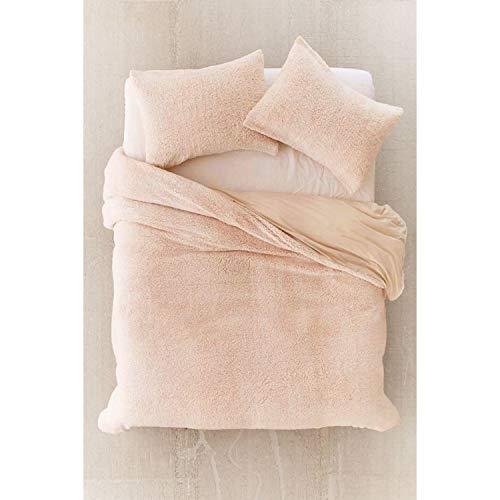 Uarrehome Direct Teddy-Fleece-Bettwäsche-Set, kuschelig warm, weich, mink, Doppelbett
