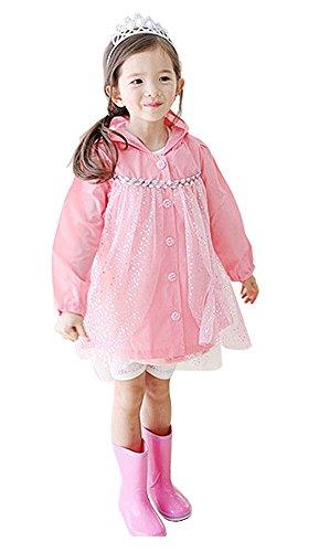 Baby-girls conte de fées Robe de princesse pluie Mode enfants pluie Rose S