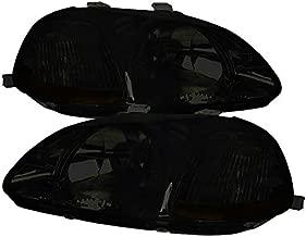 Carpartsinnovate For 96-98 Honda Civic EX LX DX JDM Smoke Lens Headlights EK Tinted Head Lamps