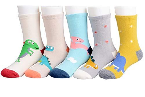 syisocks Calcetines de niño 5 pares Algodón Dinosaurio Cars Jirafa Niñas Niños Calcetines de tripulación Dino 1-3 años antideslizante