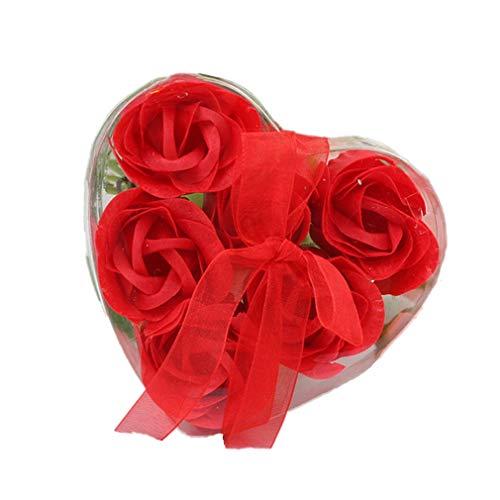 6Pcs Seife Rose Blume Flora Duft Seife Rose Soap Flower Plant ätherisches Öl Seife, Geschenk für Geburtstag/Jahrestag/Hochzeit/Valentinstag/Muttertag/Thanksgiving/Weihnachten Blumenseife Geschenk