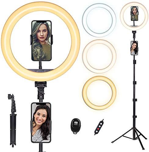 Doosl anillo de 10 pulgadas con soporte de 63 pulgadas y soporte para teléfono – luz regulable de belleza para transmisión en vivo/maquillaje/vídeo de YouTube, iPhone y Android compatible