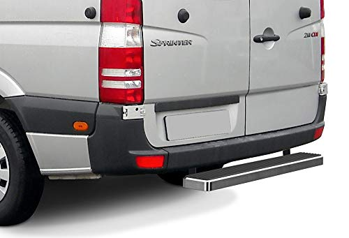 APS iBoard Rear Step Bar (Nerf Bars Side Steps Step Bars) Compatible with 2007-2009 Dodge Sprinter Full Size Van & 10-20 Mercedes-Benz Sprinter (Silver Powder Coated 5 inches)