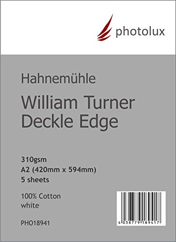 Hahnemühle William Turner Deckle Edge 310g/m² DIN A2 in 5-Blatt FineArt Fotopapier
