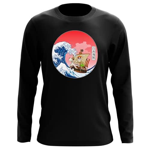 T-Shirt Manches Longues Noir Parodie One Piece - La Grande Vague de Kanagawa et Le Vogue Merry - Pirates en mer du Japon. : (T-Shirt de qualité Premium de Taille S - imprimé en France)