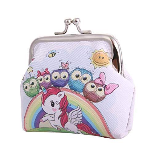 Yunobi Monederos de unicornio – Monedero de piel con diseño de unicornio impreso con resorte de apertura, bolsa de joyería portátil para mujeres y niñas