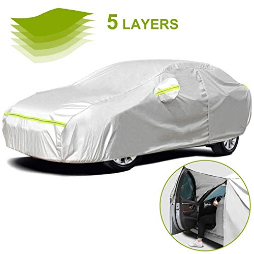 Favoto Full Car Cover Sedan Cover Universal Fit 177-194 Inch 5 Layer Heavy Duty Sun Protection...