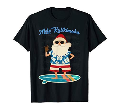 Retro Santa Claus Surfing Hawaiian T-Shirt Summer Christmas T-Shirt