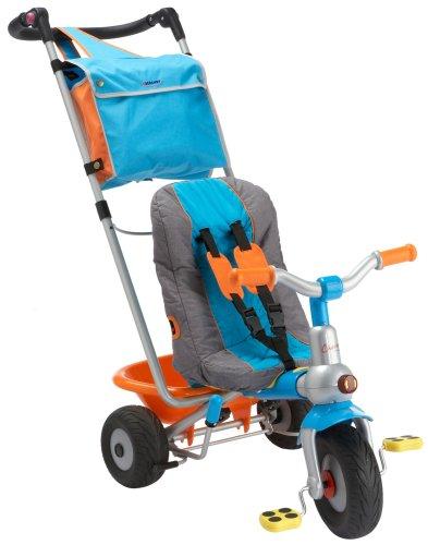 Berchet 414201 - Top Dreirad Baby Too Komfort Metallrahmen, mitwachsend mit Schiebestange, Freilauf, Gurt, Rucksacktasche, Kippmulde, zerlegbar, blau/rot/grün