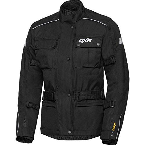 DXR Motorradjacke, Motorrad Jacke Damen Tour Textiljacke, wasserdichte, atmungsaktive Klimamembran, herausnehmbares Thermosteppfutter, Verbindungsreißverschluss, Armweitenverstellung, Schwarz, XL