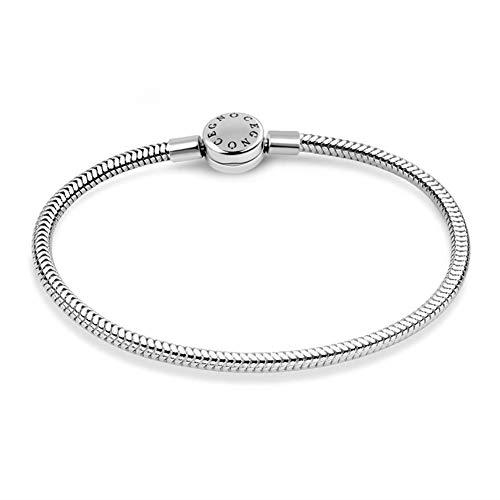 GNOCE - Braccialetto con ciondolo a forma di serpente, in acciaio inox, con chiusura rotonda e Acciaio inossidabile, colore: Acciaio inox, cod. No