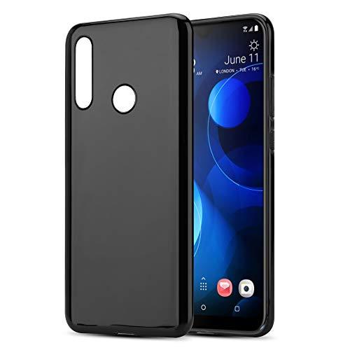 Cadorabo Hülle für HTC Desire 19+ in SCHWARZ - Handyhülle aus flexiblem TPU Silikon - Silikonhülle Schutzhülle Ultra Slim Soft Back Cover Hülle Bumper