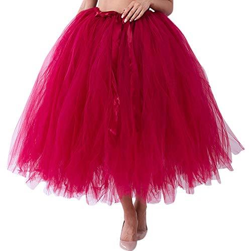 VEMOW Tutu Elegante Damen Cosplay Crinoline Petticoat Mesh Tüllrock Brautjungfer Prinzessin 50er Kurz Ballet Tanzkleid Blase Mutterschaft für Rockabilly Kleid(X1-Weinrot, Freie Größe)