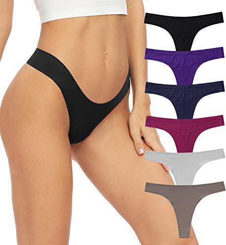 GNEPH Low Rise Seamless Yoga Thong Women Underwear Stretch Invisible Bikini Thongs Panties Multipack(3091Dark,L)
