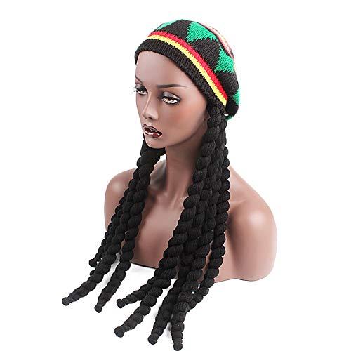 Amorar Perücke Beanie Strickmütze mit Dreadlocks Jamaika-Mütze Rasta Reggae Hiphop Rap Strickhüte Oversize Haube Fancy Dress Special Kappe