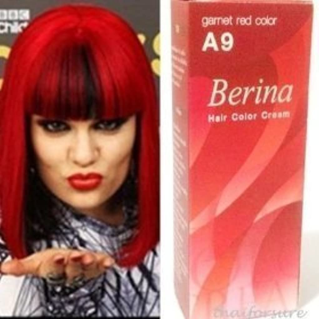 妖精処理する判定BERINA PERMANENT HAIR DYE COLOR CREAM # A09 Garnet Red COOL HOT CREZY FASHIONS by Capushino