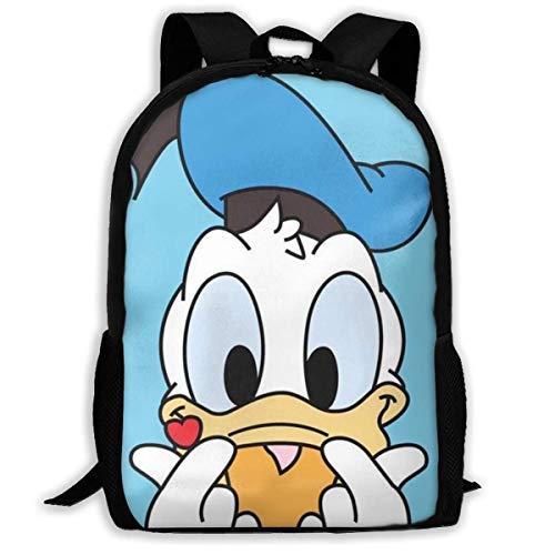 wobuzhidaoshamingzi casual rugzak Donald Ducks Love print ritssluiting schooltas reisdagrugzak backpack