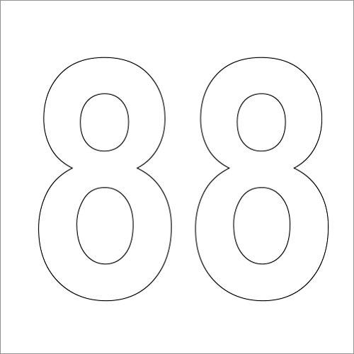 """3 weiße, hochwertige Zahlen Aufkleber Nr."""" 88 """" 10 cm hoch aus Hochleistungsfolie, ohne Hintergrund, Zahl,Nummer,Mülltonnen,Mülltonne ,Aufkleber,Nummer,"""