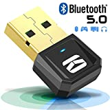 Adaptateur Bluetooth pour PC, USB 5.0 Clé Bluetooth Émetteur et Récepteur Sans Fil Compatible avec Win 10/8/7/Vista/XP pour Haut-Parleur/Casque/Clavier/Souris/Manette de jeu/Imprimante Plug & Play